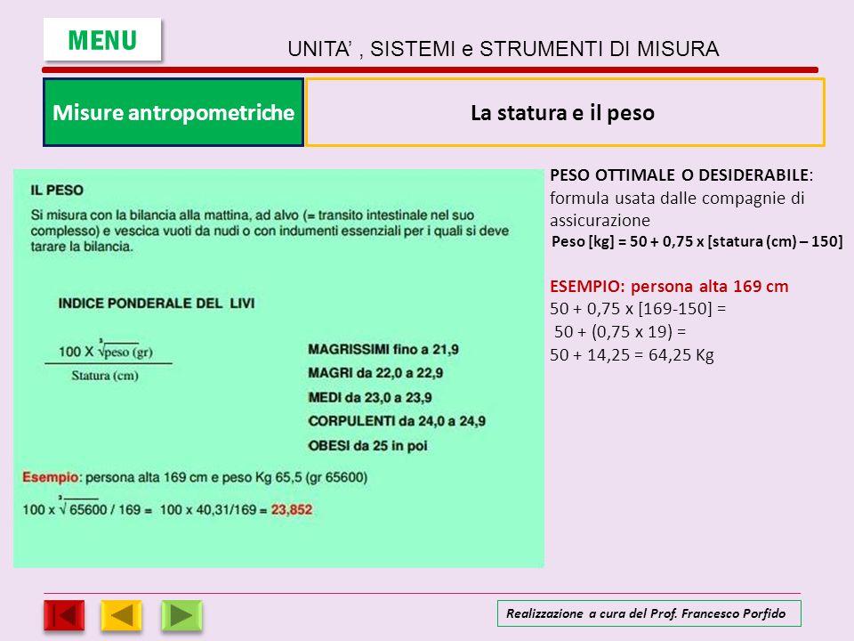 Misure antropometriche Peso [kg] = 50 + 0,75 x [statura (cm) – 150]